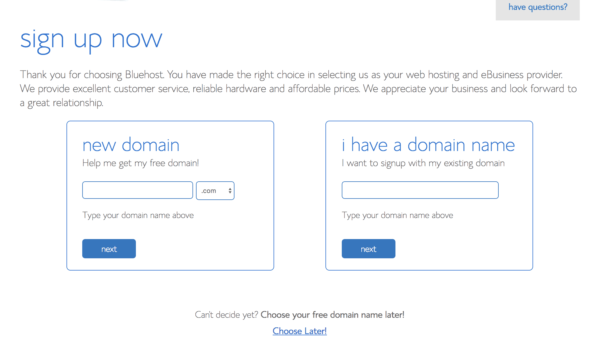 Sign-Up Now Bluehost