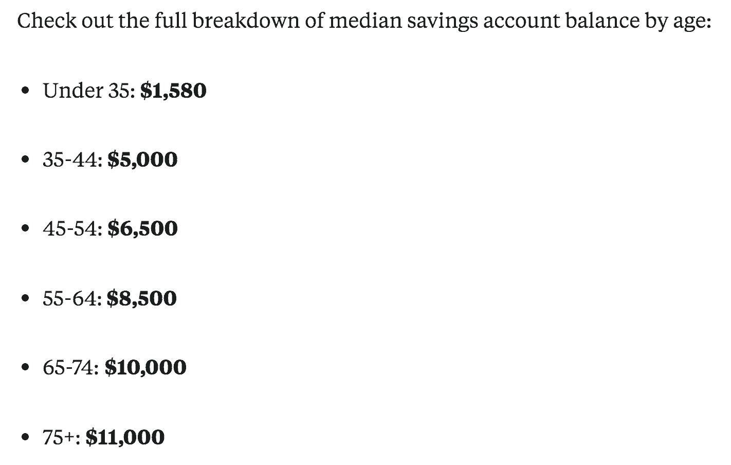 Average savings account balance by age