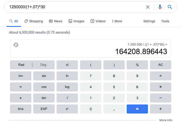 Google calculation of Coast FIRE.