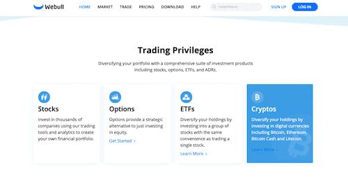 Webull trading platform.