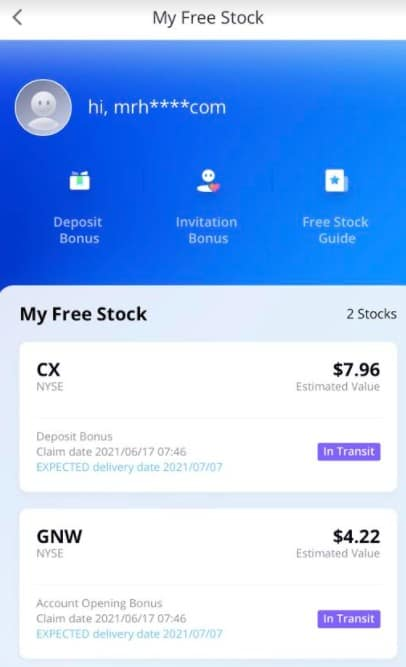 WeBull My free stock